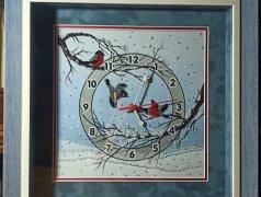 Часы настенные вышитые бисером Зимние часы Кишинёв мун.